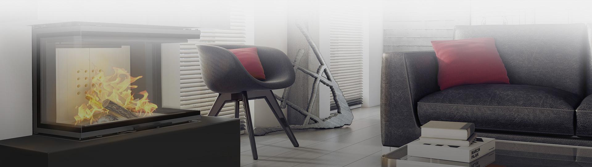 Designerski kominek w nowoczesnym pokoju