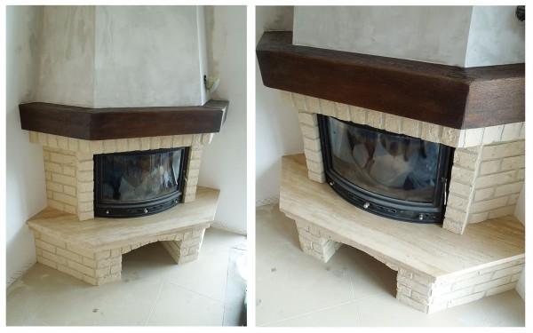 kominek rustykalny cegła belka drewniana