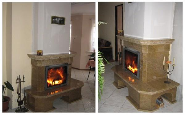 kominek tradycyjny z kamienia granitu